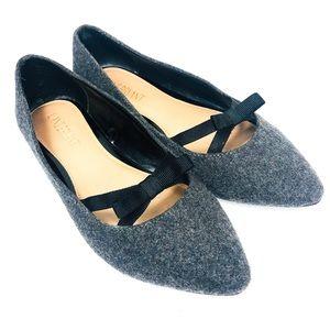 LANE BRYANT Gray Wool Tweed Ribbon Bow Flat 8W